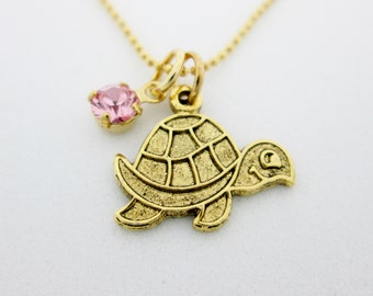 Turtle Necklace, Turtle Charm Necklace, Antique Gold Turtle, Small Turtle Charm B047