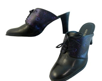 Black Leather High Heel Mules w Purple, Violet, Lavender // Size 9M  US // Hand Painted Lace Up // Saddle Shoe Boot  //  Boho Brogues Brazil