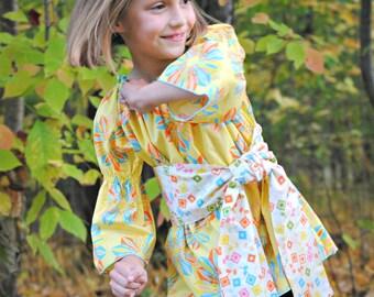 Girl's Peasant Top, Girls Blouse, Toddler shirt, Girls shirts, Girls Clothing, toddler clothing, toddler top, yellow, size 2T 3 4 5 6 7 8