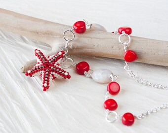 Coral Red Beaded Starfish Necklace, unique beadwork sea star, sterling silver chain, summer beach jewelry, red necklace