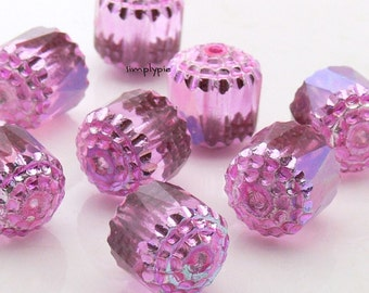 Cathedral Pink AB, Fire Polished Czech Glass Beads, 10mm 4