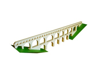 Pont du Gard Bridge, paper model kit of a Roman aqueduct in France, 55 cm / 22 inches long