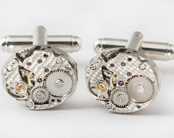 Steampunk cufflinks Vintage watch movements gear wedding anniversary Groom Best Man Gift silver cuff links men Jewelry Steampunk Nation 2737