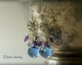 Blue Quartz Sterling Silver Earrings Purple Amethyst White Topaz Floral Chandelier Wire Wrapped AAA Luxe