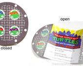 Ninja Turtle Manhole Custom PRINTABLE Birthday Invitation