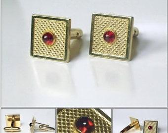 Vintage ANSON Red Stone Cufflinks