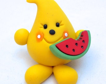 Parker with Watermelon - Polymer Clay Figurine - Whimsical Character