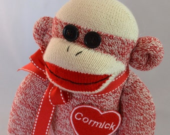 Personalized Red Sock Monkey Doll-Valentine's Day