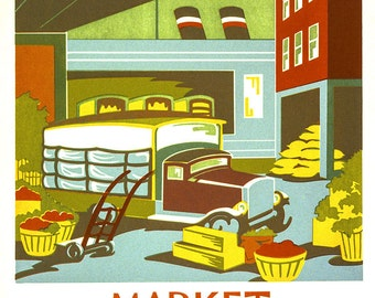 "New Vintage WPA Reproduction Poster- ""Market"" 11x14"