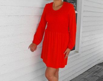 Red Smocked Dress Hippie Mod 70s Vintage Long Sleeve M L