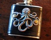 Flask - copper verdigris octopus on black leather (3 oz), steampunk pirate hipster goth groomsman wedding