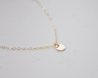 Tiny Gold Disc Necklace - gold filled dot small circle round charm pendant handmade jewelry - simple & sweet everyday or wedding jewelry