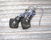 Black Earrings,  Rutilated Quartz Tanzanite Dangle Earrings,  Wire Wrapped In Sterling Silver, Natural Stone