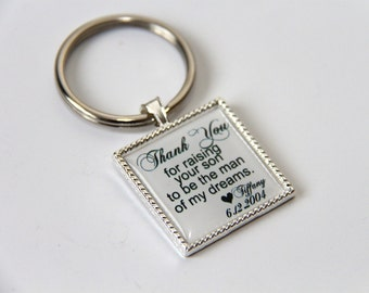 wedding keepsake gift for father of the groom, mother of groom gift, father in law gift, mother in law gift, custom quote keychain