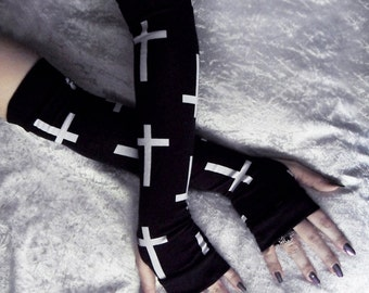 Lucien Arm Warmers | Black w/ White Crosses | Yoga Gothic Unisex Hooping Bellydance Vampire Cycling Fetish Victorian Lolita Goth Cross