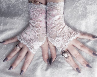 Anemonella Lace Fingerless Gloves - Pale Silvery Blue White Baby Pink Floral - Wedding Gothic Regency Pastel Goth Bridal Fetish Bridesmaid