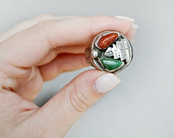 Native American Green Turquoise and Coral Ring