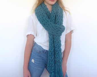 Long Chunky scarf, knit scarf, Teal chunky knit scarf