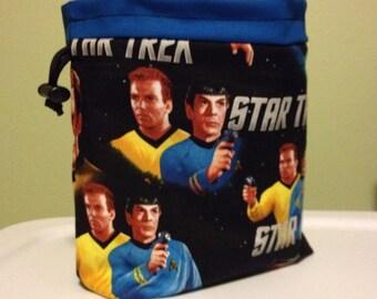 Kirk and Spock Drawstring Knitting Bag