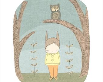 "A3 Boys Art for Kids Wall Art, Bunny and Owl Animal Nursery Art, A3 and 11x14"""