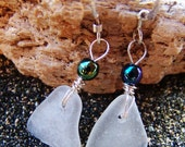 Sea Glass Earrings - Simple Petite Frosty White Triangles with Iridescent Bead Accents on Sterling Silver French Ear Wires EW 35