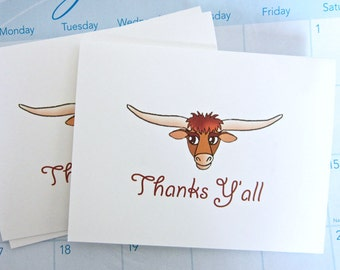 Thanks Y'all Note Cards, Texas Longhorn Cattle Thank You Cards, Set of 10, Blank Cards, Country Western Design, Western Cowboy Note Cards