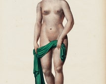 1844 Amazing Antique print NUDE WOMAN, fine lithograph of perfect proportions and beauty in the female body