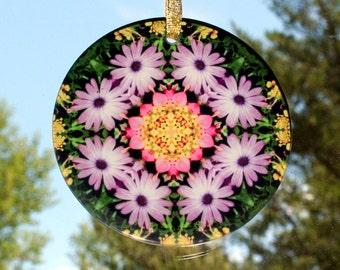 Purple Daisy Glass Suncatcher Boho Chic Mandala New Age Sacred Geometry Hippie Kaleidoscope Unique Mod Gypsy Gift For Her Triumphant Soul