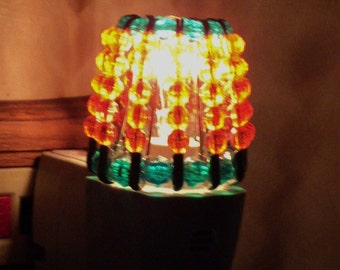 Night Light Shade, Home Decor, Fall Lighting, Beaded, Kitchen Lighting, Bathroom Lighting, Orange, Green, Pumpkin - PUMPKIN PATCH