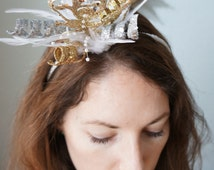DEMI - Gold Silver White Bridal Feather Glitz Glitter Disco Ball New Years Eve Holiday Party Headpiece Festive Firework Headband Fascinator