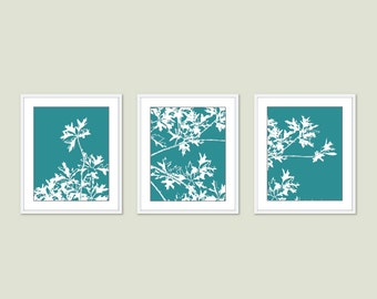 Autumn Tree Prints - Maple Tree Branches Art - Maple Tree Triptych Wall Art - Teal Art - Fall Wall Art - Maple Leaf Art - Aldari Art