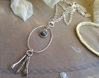 Labradorite and Sterling Fork, Knife, Spoon Long Necklace