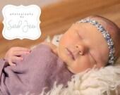 Purple Baby Headband - Purple Newborn Headband - Newborn Tieback - Infant Tieback Headband - Newborn Photo Prop - Flower Halo - Newborn Halo