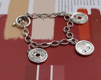 Asian Inspired Bracelet, Silver Colored Coin, Swarovski Elements Crystal. Jewelry for Her. Gifts Under 25, Chinese Symbols, Asian Dragon
