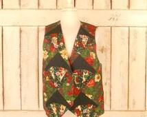 Vintage handmade ugly Christmas patchwork vest/holiday holly floral vest/medium /large