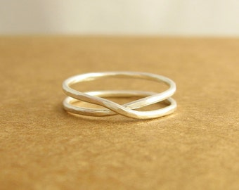Hammered Infinity Ring, Argentium Sterling Silver, Ready To Ship