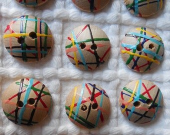 """Set of 7 Colorful Vintage Hand Painted Wood Buttons 1.1/8"""""""