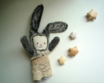 Poline   - Little  Bunny with hand embroidered face, soft art  toy creature  by  Wassupbrothers. MADE TO ORDER