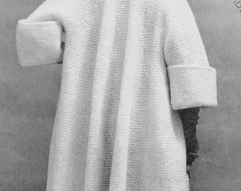 INSTANT PDF PATTERN Crochet and Knit Glam 1950s Full Swing Back Coat Wide Cuffs Perfect Fall Coat Sweater Knitting Crocheting Pattern
