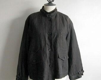 Vintage Lida Baday 1990s Blazer Dark Brown Linen Box Crop Jacket 12