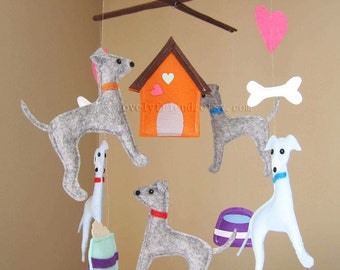 "Baby Mobile - Dog Crib Mobile - ""Five Little Grey Hounds""  - Handmade Nursery Mobile (Match your bedding)"