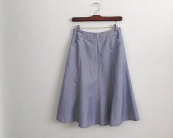 nautical striped skirt - 70s vintage blue white full circle mini scalloped pockets lolita feminine high waisted short knee length xs small