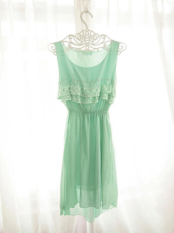 Marie Antoinette Mint Green Elven Dreamy Soft Seafoam Minty Tiffany Blue Romantic Pale Chantilly Pistachio Light Aqua Dew Chiffon Lace Dress