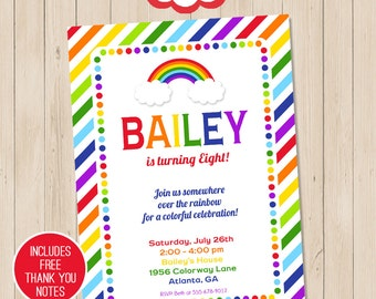 Rainbow Party Invitation | Rainbow Birthday Invitation | Rainbow Printable Invitation | Rainbow Invitation | Amanda's Parties To Go