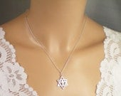 Star of David with Cross Necklace, all Solid Sterling Sillver