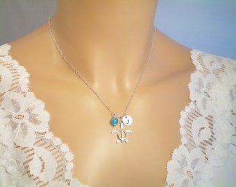 Sea Turtle Sterling Silver Necklace, Personalize Birthstone Gems, Beach Wedding, Ocean Charm Necklace
