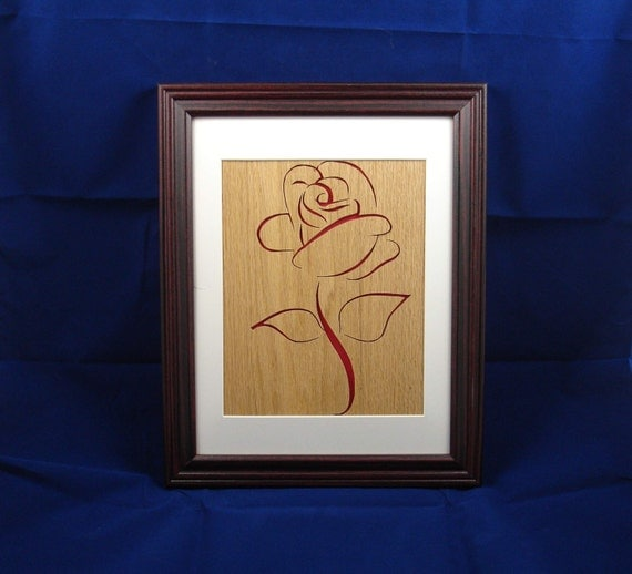 Red Rose Wall Art Decor Handmade 8 x 10 Oak Wood Flower, Frame Optional