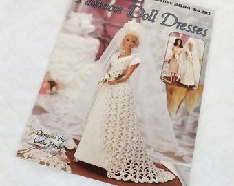 "Crochet Patterns for Fancy Fashion Doll Dresses, 11-1/2"" Doll Crochet Wedding Dress Pattern, Instruction Leaflet Crochet Doll Dresses"