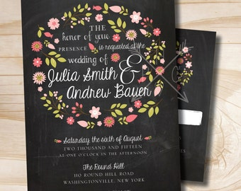 VINTAGE BLACKBOARD Chalkboard Floral Wreath Wedding Invitation and Response Card Invitation Suite