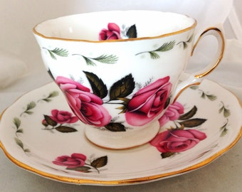 Colclough English Fine Bone China Vintage Teacup & Saucer Set - Pink Antique Roses - gold gilded edge - deep pink magenta rose